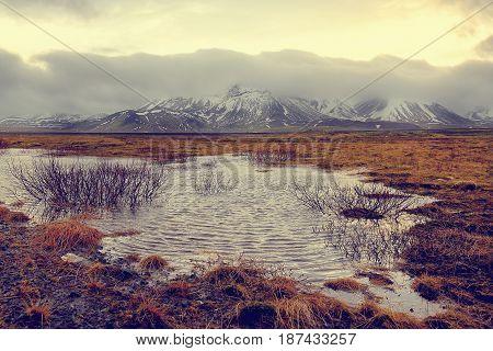 Sea coast with mountain, East Coast, Iceland