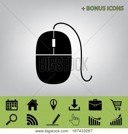 Mouse sign illustration. Vector. Black icon at gray background with bonus icons at celery ones