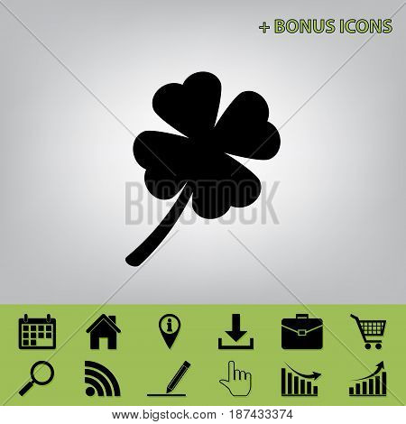 Leaf clover sign. Vector. Black icon at gray background with bonus icons at celery ones