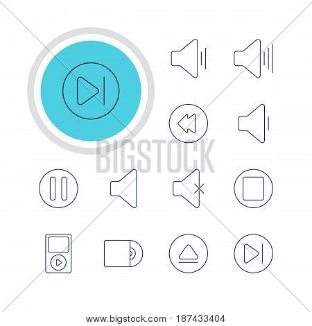 Vector Illustration Of 12 Melody Icons. Editable Pack Of Subsequent, Lag, Audio And Other Elements.
