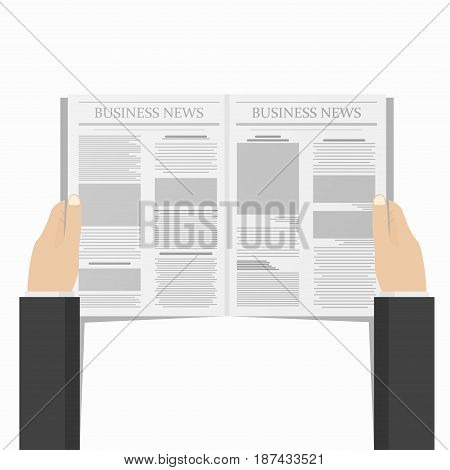 Newspaper in businessman hands. Daily business news concept. View from above. Vector