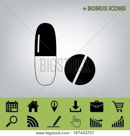 Medical pills sign. Vector. Black icon at gray background with bonus icons at celery ones