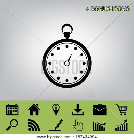 Stopwatch sign illustration. Vector. Black icon at gray background with bonus icons at celery ones