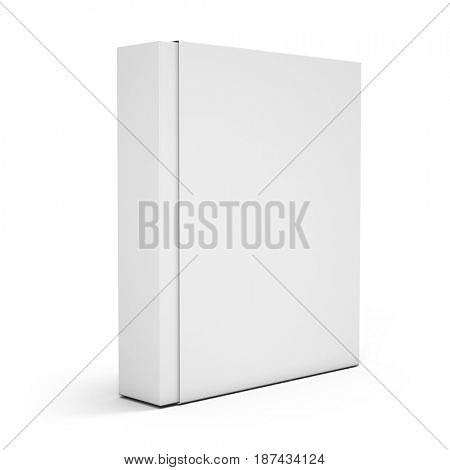 Blank white box isolated over white background. 3d render