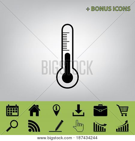 Meteo diagnostic technology thermometer sign. Vector. Black icon at gray background with bonus icons at celery ones