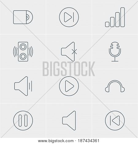 Vector Illustration Of 12 Melody Icons. Editable Pack Of Start, Lag, Amplifier And Other Elements.