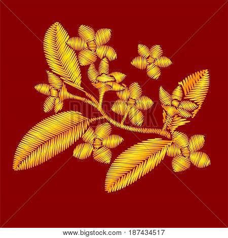 Golden embroidery Plumeria branch with flowers and leaves isolated on red background.
