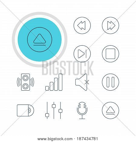 Vector Illustration Of 12 Melody Icons. Editable Pack Of Compact Disk, Reversing, Rewind And Other Elements.
