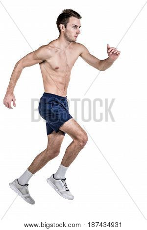 Healthy lifestyle and fitness. Run. A handsome guy sports a physique with a naked body in a shert runs isolated on a white background