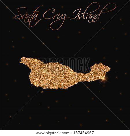 Santa Cruz Island Map Filled With Golden Glitter. Luxurious Design Element, Vector Illustration.
