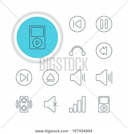 Vector Illustration Of 12 Melody Icons. Editable Pack Of Subsequent, Volume Up, Soundless And Other Elements.