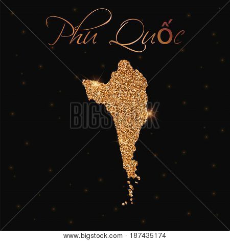 Phu Quoc Map Filled With Golden Glitter. Luxurious Design Element, Vector Illustration.