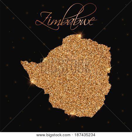 Zimbabwe Map Filled With Golden Glitter. Luxurious Design Element, Vector Illustration.