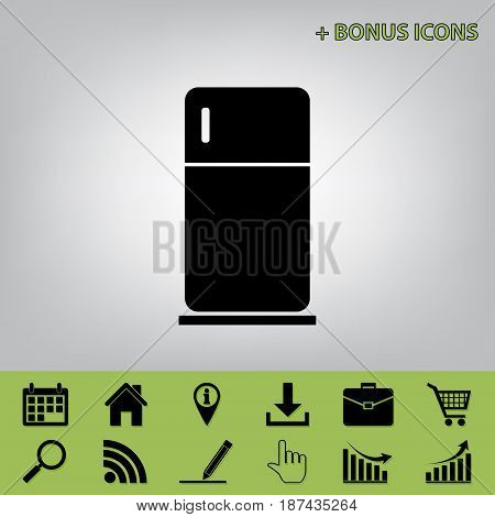 Refrigerator sign illustration. Vector. Black icon at gray background with bonus icons at celery ones