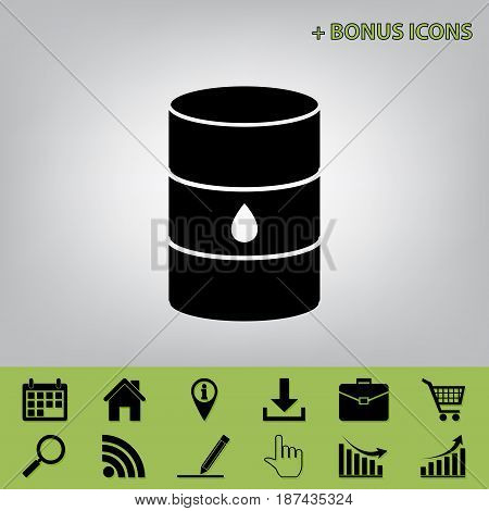 Oil barrel sign. Vector. Black icon at gray background with bonus icons at celery ones