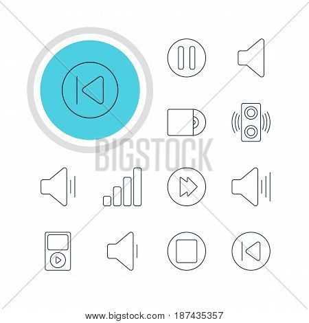 Vector Illustration Of 12 Music Icons. Editable Pack Of Decrease Sound, Pause, Mp3 And Other Elements.