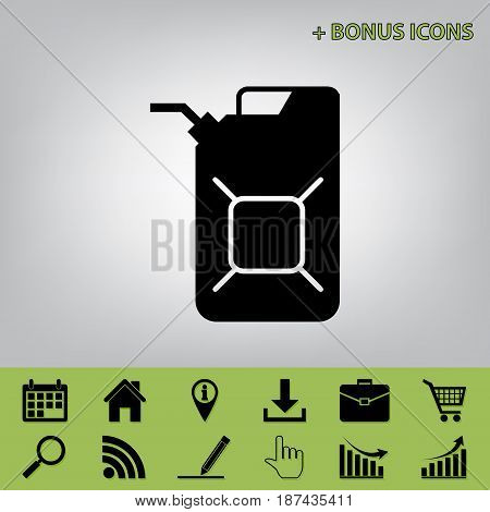 Jerrycan oil sign. Jerry can oil sign. Vector. Black icon at gray background with bonus icons at celery ones