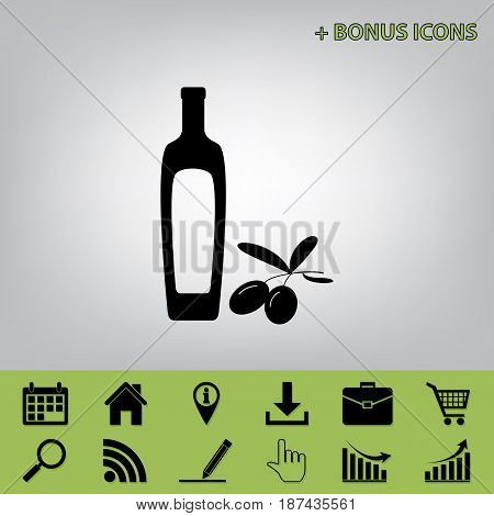 Black olives branch with olive oil bottle sign. Vector. Black icon at gray background with bonus icons at celery ones