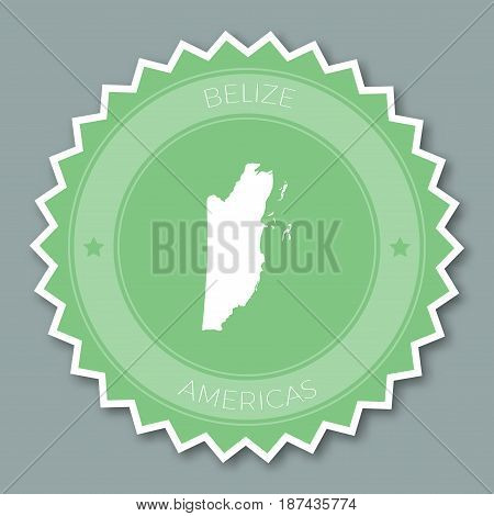 Belize Badge Flat Design. Round Flat Style Sticker Of Trendy Colors With Country Map And Name. Count