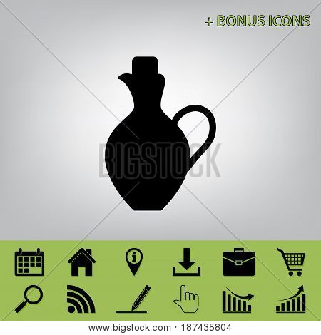 Amphora sign illustration. Vector. Black icon at gray background with bonus icons at celery ones