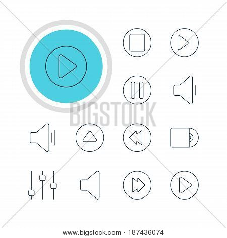 Vector Illustration Of 12 Music Icons. Editable Pack Of Decrease Sound, Advanced, Stabilizer And Other Elements.