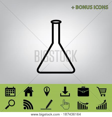 Conical Flask sign. Laboratory glass sign. Vector. Black icon at gray background with bonus icons at celery ones