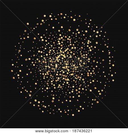 Gold Confetti. Double Circle On Black Background. Vector Illustration.