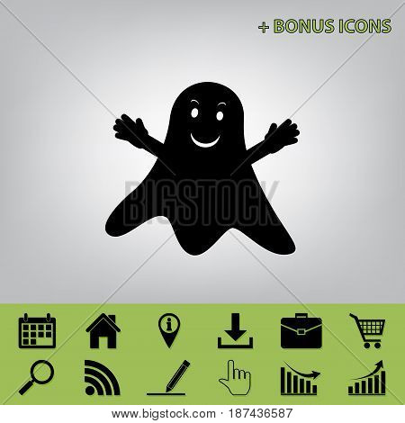 Ghost sign. Vector. Black icon at gray background with bonus icons at celery ones