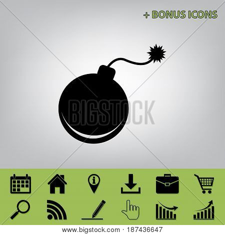 Bomb sign illustration. Vector. Black icon at gray background with bonus icons at celery ones