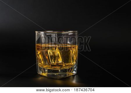 Whisky Tasting Glass, Whiskey In A Glass, Black Background, Ice Cubes