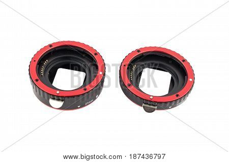 Set Of Macro Rings For Slr Cameras On A White Background Isolated.