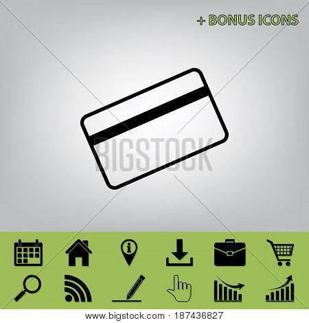 Credit card symbol for download. Vector. Black icon at gray background with bonus icons at celery ones