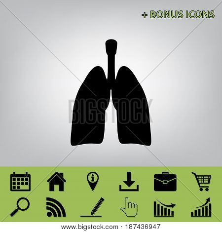 Human anatomy. Lungs sign. Vector. Black icon at gray background with bonus icons at celery ones