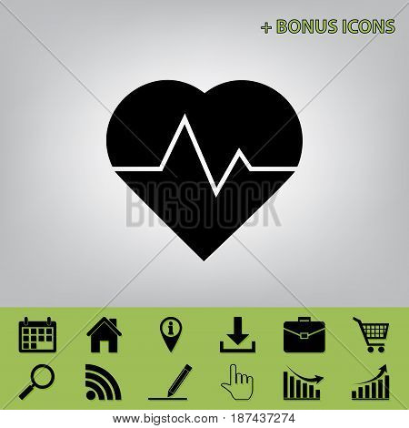 Heartbeat sign illustration. Vector. Black icon at gray background with bonus icons at celery ones