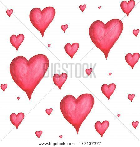 Watercolor hand painted seamless pattern with volume hearts on white background . Watercolor illustration