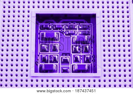 Cpu Socket On A Computer Motherboard Macro Close
