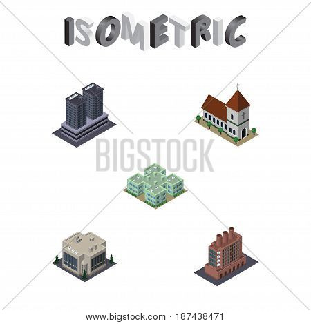 Isometric Urban Set Of Tower, Chapel, Industry And Other Vector Objects. Also Includes Firm, Company, Office Elements.