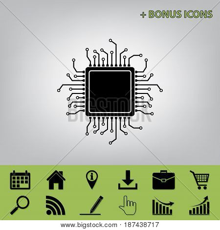 CPU Microprocessor illustration. Vector. Black icon at gray background with bonus icons at celery ones