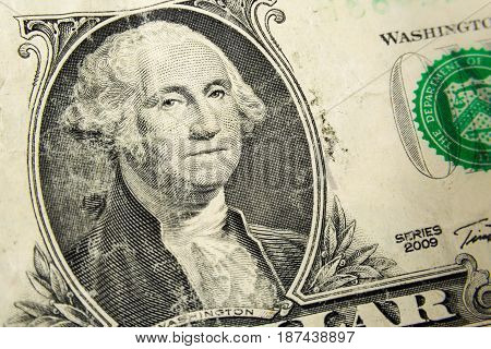 One Dollar Bill Detail Closeup White Background Isolated Currency Concept Finance