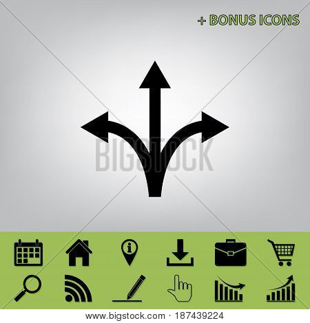 Three-way direction arrow sign. Vector. Black icon at gray background with bonus icons at celery ones