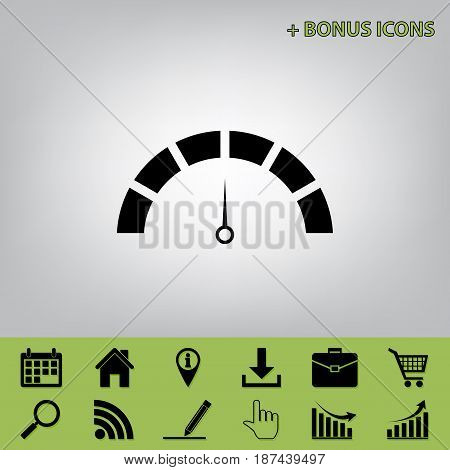 Speedometer sign illustration. Vector. Black icon at gray background with bonus icons at celery ones