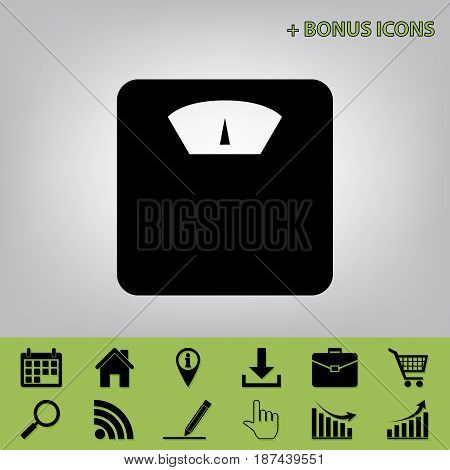 Bathroom scale sign. Vector. Black icon at gray background with bonus icons at celery ones
