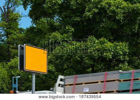 Blank Yellow Highway Sign Autobahn City Limits