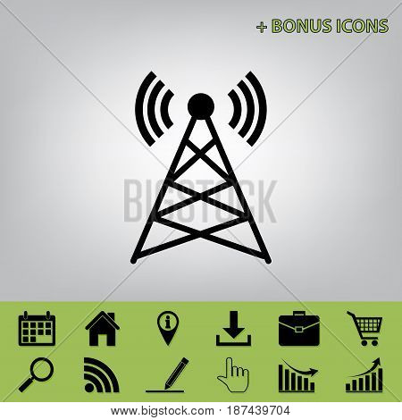 Antenna sign illustration. Vector. Black icon at gray background with bonus icons at celery ones