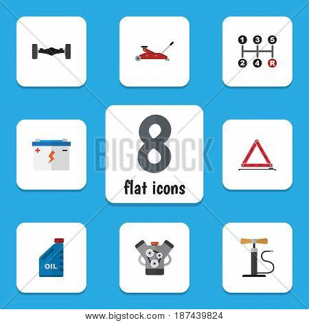 Flat Auto Set Of Petrol, Lifting, Carrying And Other Vector Objects. Also Includes Warning, Transmission, Wheel Elements.