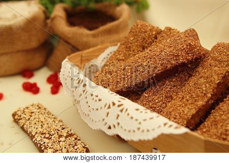 rye bread with bran and oat flakes in a basket