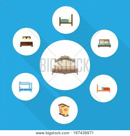Flat Bedroom Set Of Bedroom, Mattress, Crib And Other Vector Objects. Also Includes Hostel, Double, Bearings Elements.