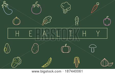 Graphic of various vegetable icons healthy nutrition