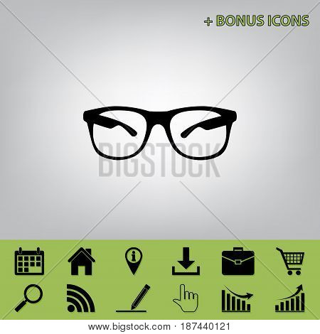 Sunglasses sign illustration. Vector. Black icon at gray background with bonus icons at celery ones