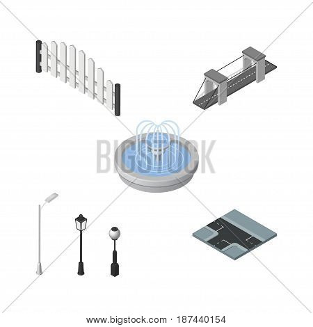 Isometric Architecture Set Of Crossroad, Highway, Barricade And Other Vector Objects. Also Includes Road, Lanterns, Crossroad Elements.